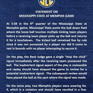 SEC confirms officiating errors on key Memphis punt return touchdown